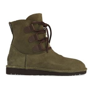 UGG Elvi Suede Leather Lace-Up Green Ankle Bootie